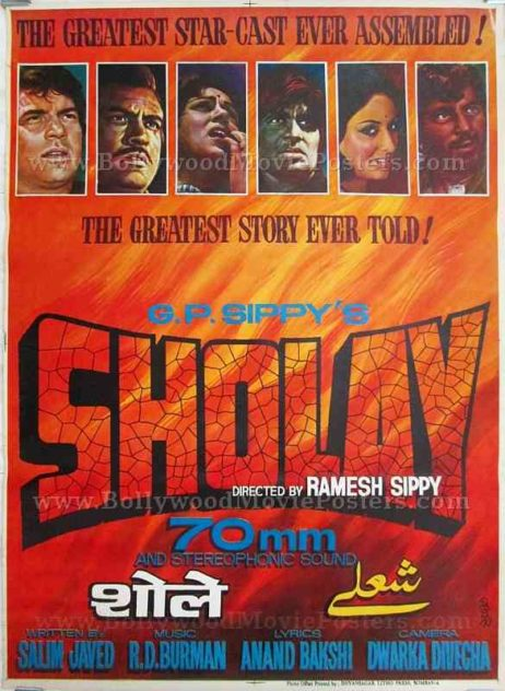 Buy Sholay original movie poster for sale Gabbar Singh Amitabh hand painted indian film poster