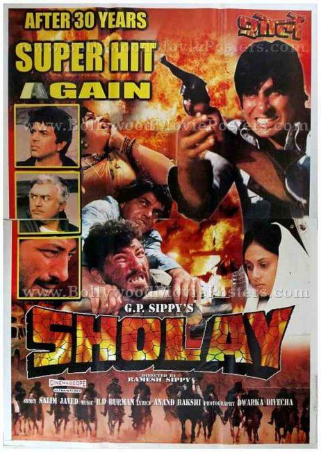 Sholay Gabbar Singh Jai Veeru old Indian film posters for sale