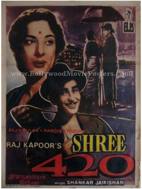 Shree 420 Shri Raj Kapoor Nargis old hindi movie posters