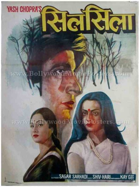 Silsila 1981 Amitabh Rekha Jaya old hand drawn Bollywood movie posters for sale buy online
