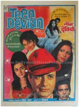 Teen Devian 1965 old vintage indian movie film posters for sale