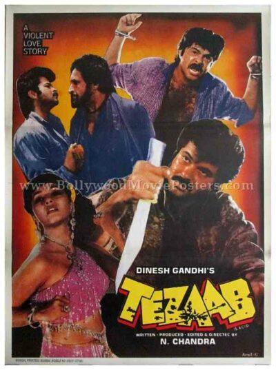 Tezaab 1988 ek do teen madhuri dixit old Bollywood movie posters for sale
