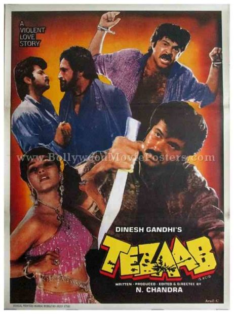 Tezaab 1988 ek do teen madhuri dixit old Bollywood movie posters for sale