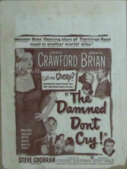 The Damned Don't Cry! 1950 old vintage movie handbills for sale online in US, UK, Mumbai, India