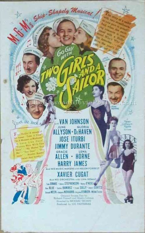 Two Girls and a Sailor 1944 old vintage movie handbills for sale online in US, UK, Mumbai, India