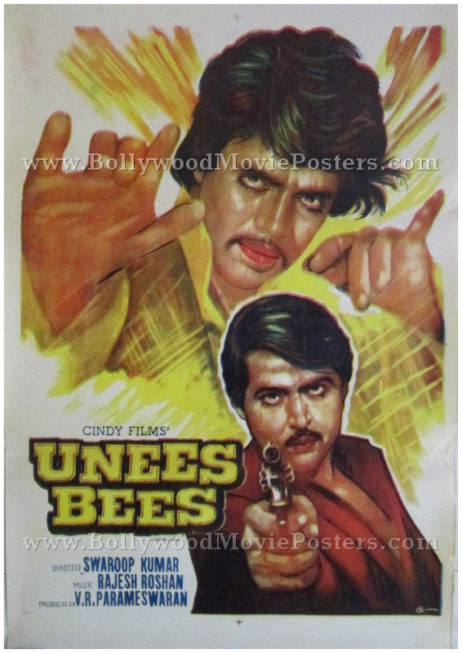 Unees Bees 1980 buy old bollywood posters for sale online
