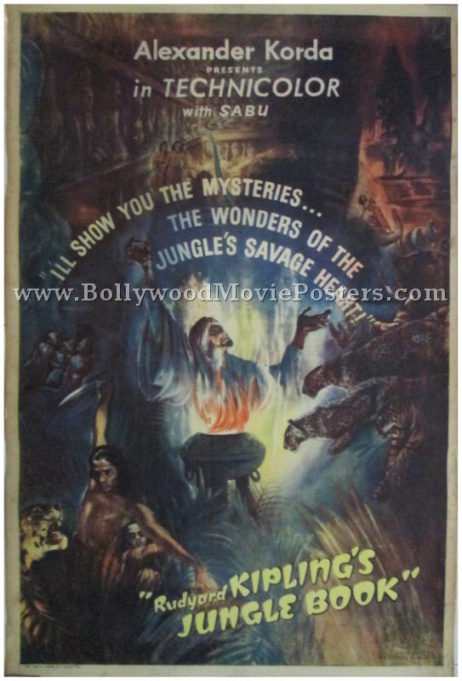 Vintage Jungle Book 1942 poster original old Hollywood movie India
