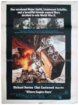 Where Eagles Dare Richard Burton Clint Eastwood original old vintage Hollywood movie posters for sale