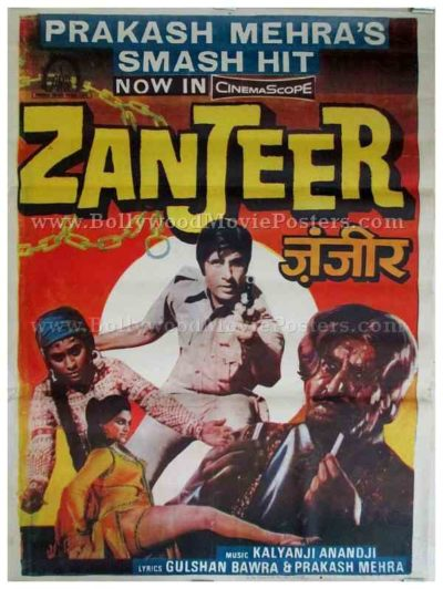 Zanjeer old Amitabh Bachchan vintage Bollywood movie posters for sale