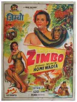 Zimbo 1958 homi wadia pedro the ape bomb old vintage hand painted Bollywood posters
